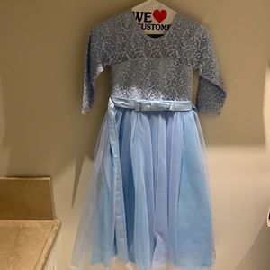 Beautiful light blue flowergirl gown with lace top